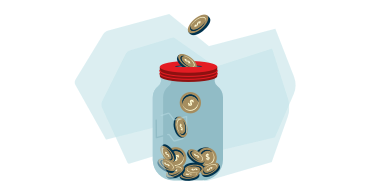 Drawing of a piggy bank with coins